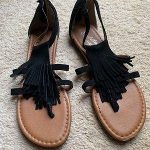 Seychelles Black Fringe Sandals